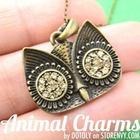 Simple Owl Bird Animal Charm Necklace in Bronze with Rhinestones