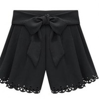 Shorts with Scalloped Hem and Tie Waist Bow