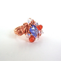 Orange and blue ring - carnelian and quartz ring - copper ring wire - wrapped ring by Sparkle City Jewelry