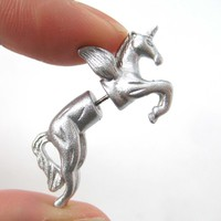 Unicorn Pegasus Horse Animal Fake Gauge 3D Plug Stud Earrings in Shiny Silver