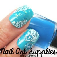 nailartsupplies | White Blue Contrasting Feather and Floral Nail Art Decal Salon Effect | Online Store Powered by Storenvy
