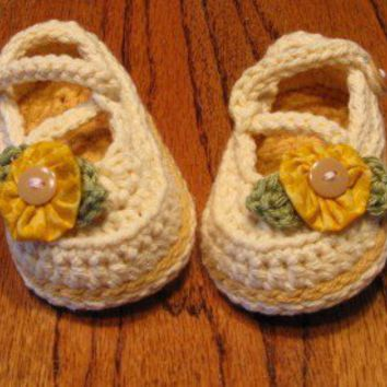 Cotton Crossover Strap MaryJanes Sizes  Newborn  9 by LandyKnits