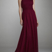 Long Sleeveless Chiffon Dress with Beaded Neck - David's Bridal