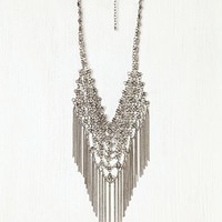 Free People Floral Chain Mail Fringe Necklace