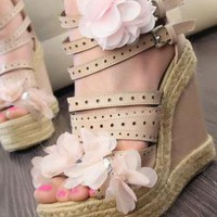 Ladies Fashion HighHeel Strappy Buckle Wedge Shoes