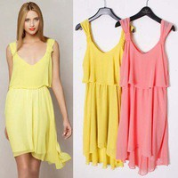 Sleeveless after short before long skirt with shoulder-straps