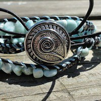 $$ SALE $$ Was $125 Larimar and Black Gold Beads Leather Wrap Bracelet | GemOnAWire - Jewelry on ArtFire