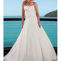 [192.04] Elegant A-line Strapless Chiffon Strapless Wedding Dress For Your Beach Wedding - Dressilyme.com