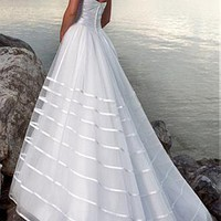 [234.71] Romantic Organza Sweetheart A-line Wedding Dress For Your Beach Wedding - Dressilyme.com