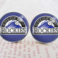 Mens Cuff Links , Silver MLB Colorado Rockies Logo Cufflinks , Gift Box