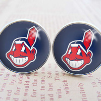 Mens Cuff Links , Silver MLB Cleveland Indians Logo Cufflinks , Gift Box