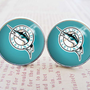 Mens Cuff Links , Silver MLB Miami Marlins Logo Cufflinks , Gift Box