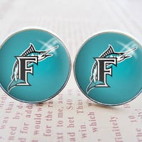 Mens Cuff Links  Silver MLB Miami Marlins Logo by quinonesless