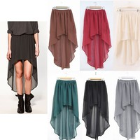 Chiffon Asymmetrical Elastic Waist Chiffon Skirt