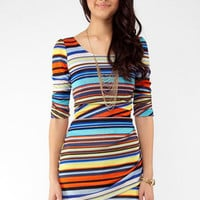 Stripe Multi Color Mini Dress in Blue :: tobi