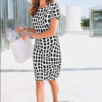White And Black Mosaic print dress from VENUS