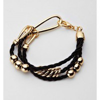 Gold Bead Bracelets - Stylish Black Braided Gold Bead Bracelet