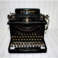 Vintage Typewriter / Vintage Antique LC Smith &amp; by HuntandFound
