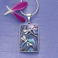 Sterling Silver Abalone Dragonflies Pendant        - Casual Women's Clothing and Fashion Accessories - Exclusive Styles in Misses and Womens Plus Sizes | Serengeti
