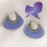 Genuine Lavender Jade Antiqued Sterling Earrings   - Casual Women's Clothing and Fashion Accessories - Exclusive Styles in Misses and Womens Plus Sizes | Serengeti