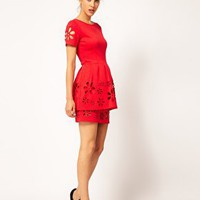 ASOS Skater Dress with Daisy Cutwork at asos.com