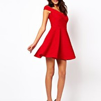 ASOS Off Shoulder Skater Dress In Rib at asos.com