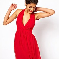 ASOS Skater Dress with Sexy Halter Neck at asos.com