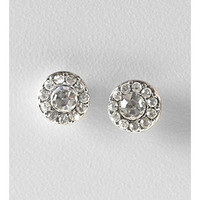 Lauren Ralph Lauren Clear Crystal and Silvertone Round Pave Button Earrings at www.bonton.com