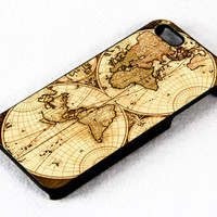 Vintage World Map - Design For iPhone 4/4s Case or iPhone 5 Case - Black or White (Option)