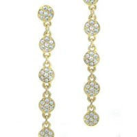 Pave Crystal Disc Drop Earrings