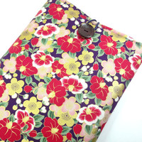 Gorgeous Fabric Macbook Sleeve, Unique gift Ideas, Padded Macbook Covers, Japanese Kimono Cotton Fabric Peony Purple