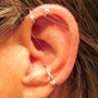 2 No Piercing &quot;Captive Ball&quot; Helix Ear Cuffs &amp; 1 Captive Ball Conch Cuff Handmade 3 Cuffs Silver Tone or 17 Color Choices