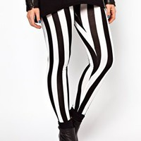ASOS CURVE Legging In Wide Stripe at asos.com