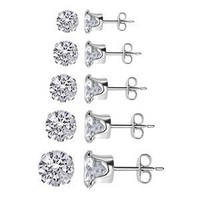 TDEZ-ROUND-SET Nickel Free Sterling Silver 3mm 4mm 5mm 6mm &amp; 7mm Round Sparkling Clear Cubic Zirconia Stud Earrings Set:Amazon:Jewelry