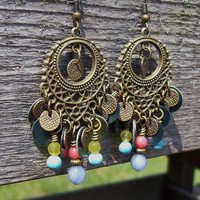 Gypsy Blue - Chandelier Beaded Dangle Earrings - Peacock Blue