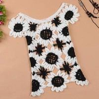 Fashionwoman — Sweet sleeveless sweater Sunflower Slim hollow