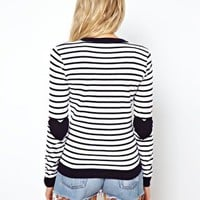 ASOS Striped Jumper With Heart Elbow Patch at asos.com