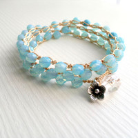 boho bracelet bohemian glass crochet beaded by theflowerdesign