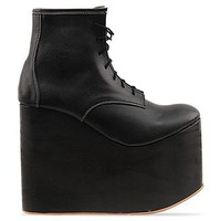 Deandri Hansel Wedges in Black On Black Wood at Solestruck.com