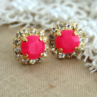 Neon Stud earring Neon Pink white Rhinestones  Summer - 14k plated gold post earrings real swarovski rhinestones.