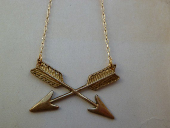Double arrow brass necklace on thin gold chain by littlepancakes
