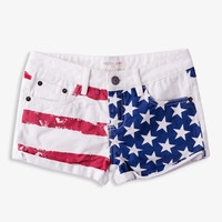 Cuffed American Flag Denim Shorts | FOREVER21 girls - 2036809285