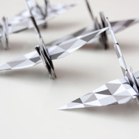 BLACK AND WHITE Origami Cranes with copper eyelets - Flock of 5