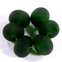 Sage Green Beads Handmade Lampwork Beads Frosted Glass Beads Etched