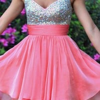 Sexy Sweetheart Chiffon Prom Beadings Dress