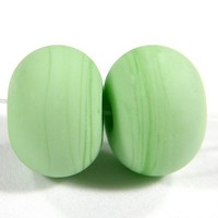 Matte Beads Grasshopper Green Handmade Lampwork Beads Etched Glass SRA