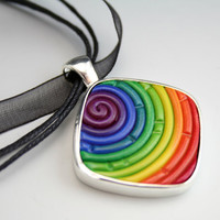 Rainbow Pendant in Polymer Clay Filigree (Diamond)