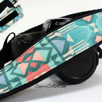 Aqua Tribal 1 dSLR Camera Strap with Pocket, Southwestern, Teal, Aqua, Salmon, Pink,  SLR