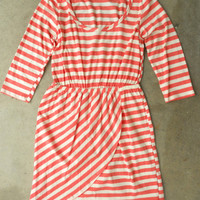Slim Lines Dress in Coral [3138] - $43.00 : Vintage Inspired Clothing &amp; Affordable Fall Frocks, deloom | Modern. Vintage. Crafted.
