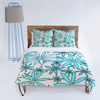 DENY Designs Home Accessories | Madart Inc. Daisy Pattern Aqua White Duvet Cover